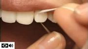 uso de fio dental – demonstração na boca