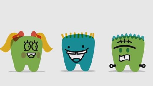 Dentinhos em desenho animado ensinam higiene bucal infantil e hábitos alimentares